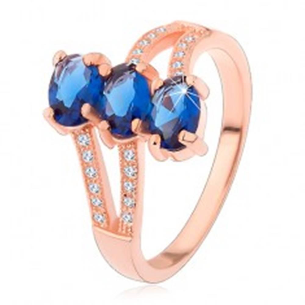 Šperky eshop Strieborný 925 prsteň v medenom odtieni, tmavomodré brúsené ovály, zvlnené ramená - Veľkosť: 50 mm