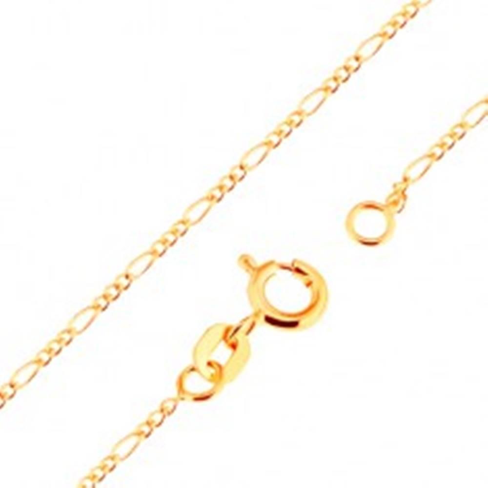 Šperky eshop Zlatá 18K retiazka - vzor Figaro, tri oválne a jedno podlhovasté očko, 500 mm
