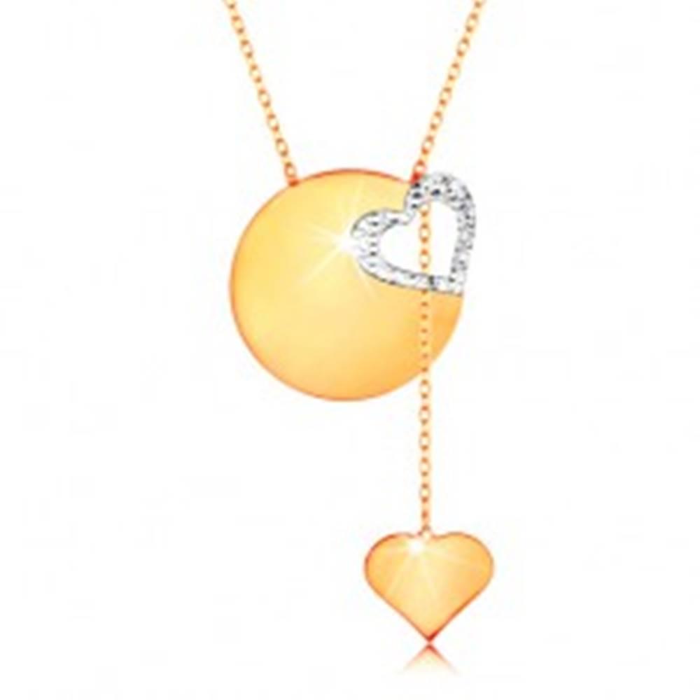 Šperky eshop Zlatý náhrdelník 585 - jemná retiazka, lesklý plochý kruh, kontúra srdca z bieleho zlata