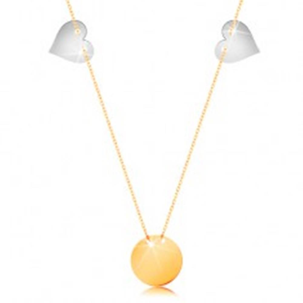 Šperky eshop Zlatý náhrdelník 585 - tenká retiazka, lesklý plochý kruh, dve srdcia z bieleho zlata