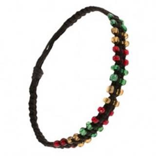 Čierny pletený náramok zo šnúrok, farebné korálkové okraje