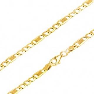 Lesklá zlatá retiazka 585 - tri oválne očká a jedno dlhšie s mriežkou, 450 mm