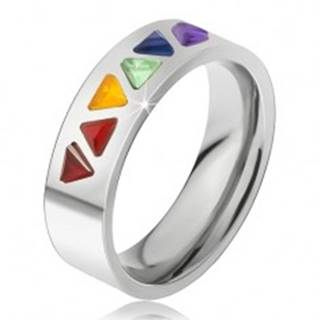 Lesklý prsteň z ocele, farebné trojuholníkové kamienky - Veľkosť: 49 mm