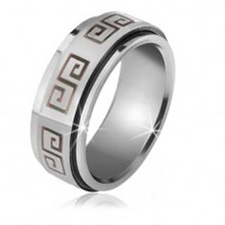 Lesklý prsteň z ocele - matná točiaca sa obruč, sivý grécky kľúč - Veľkosť: 56 mm