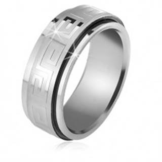 Oceľový prsteň, točiaca sa matná obruč s lesklým gréckym kľúčom - Veľkosť: 56 mm