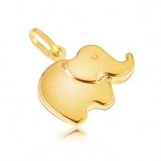 Prívesok v žltom 14K zlate - malý ligotavý zaoblený sloník