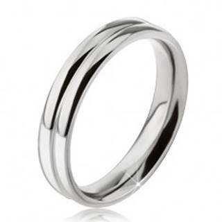 Prsteň z ocele 316L, efekt dvoch zaoblených obrúčok, 6 mm - Veľkosť: 49 mm