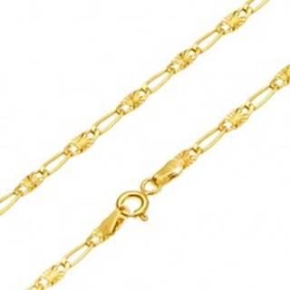 Retiazka v žltom 14K zlate - dlhé očko, článok s lúčovitým ryhovaním, 500 mm