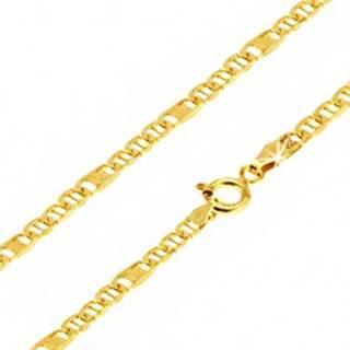 Retiazka v žltom 14K zlate, oválne očká s paličkou, článok s mriežkou, 550 mm