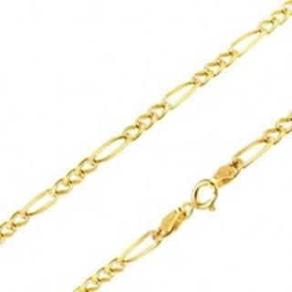 Retiazka v žltom 14K zlate - tri zarovnané očká a jedno dlhšie, 450 mm