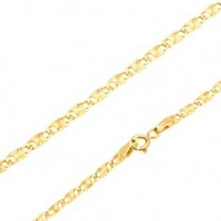 Zlatá retiazka 585 - lesklé ploché podlhovasté články, lúčovité ryhy, 500 mm