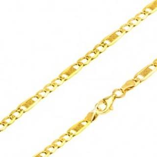 Zlatá retiazka 585 - tri oválne očká, podlhovastý článok s mriežkou, 500 mm