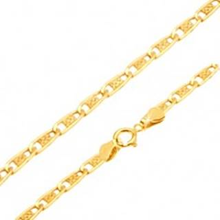 Zlatá retiazka 585 - úzke ploché podlhovasté články s mriežkou, 550 mm