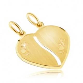 Zlatý dvojprívesok 585 - saténové srdce, nápis LOVE, podlhovastý výrez