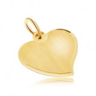 Zlatý prívesok 585 - nepravidelné ploché srdce, saténový povrch, lesklý okraj