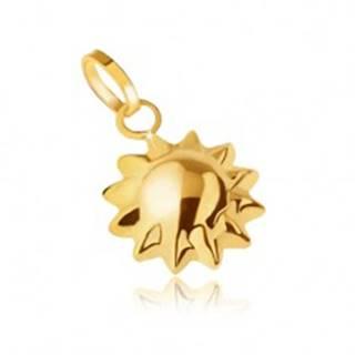 Zlatý prívesok 585, trojrozmerné ligotavé slniečko, špicaté lúče