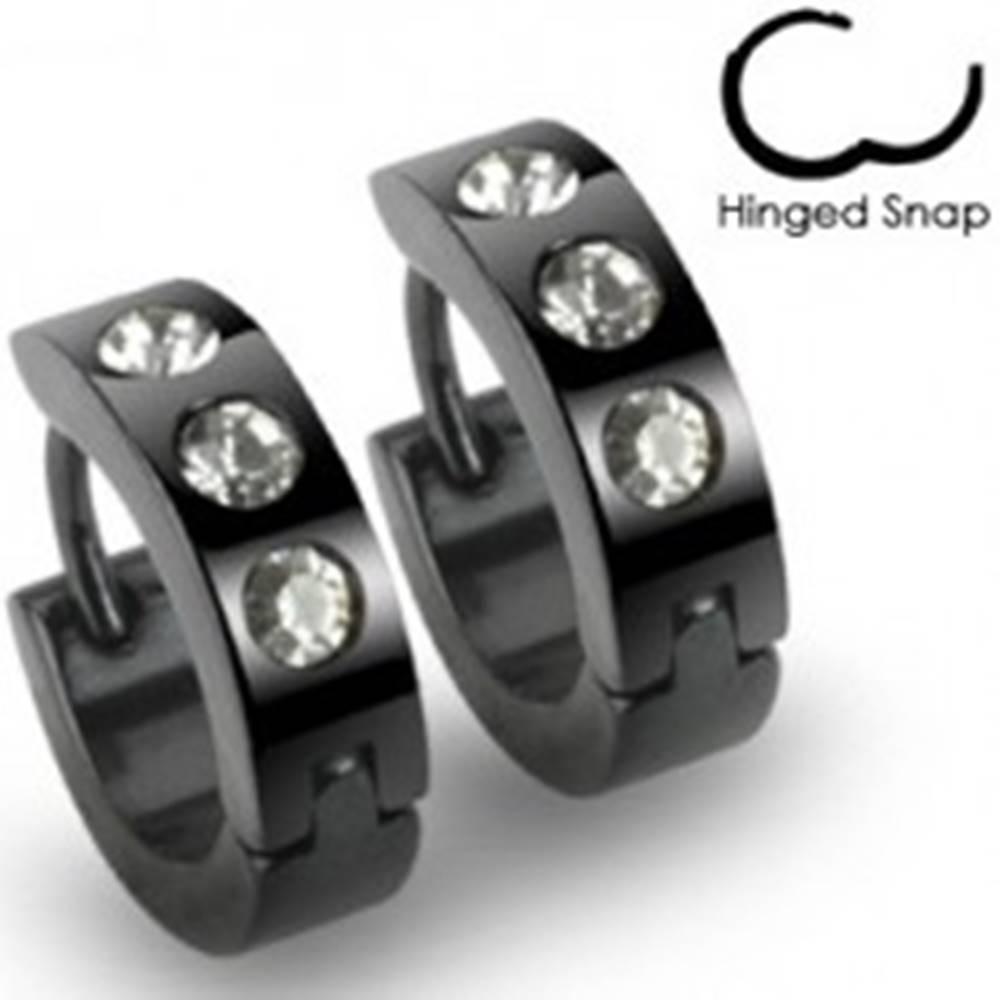 Šperky eshop Čierne okrúhle oceľové náušnice, tri číre kamienky