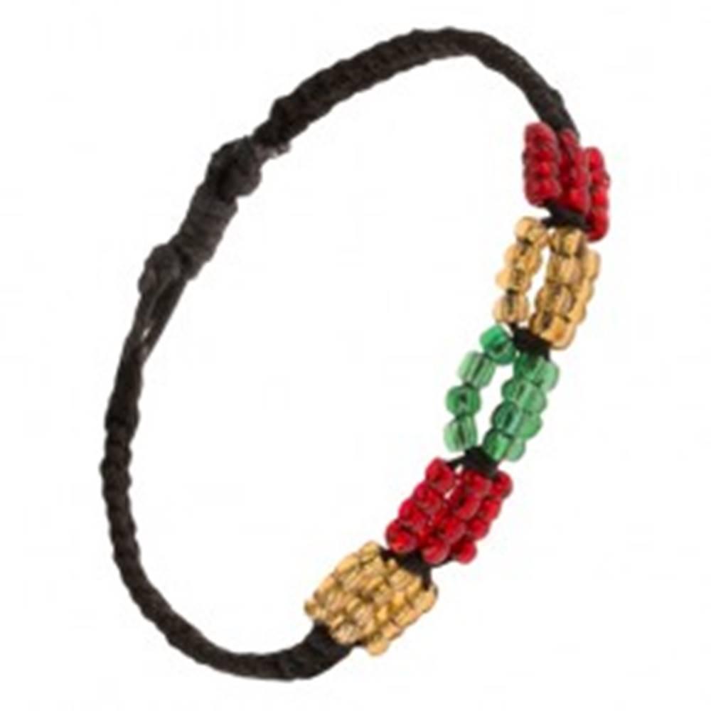 Šperky eshop Čierny pletený šnúrkový náramok, farebné korálkové ovály