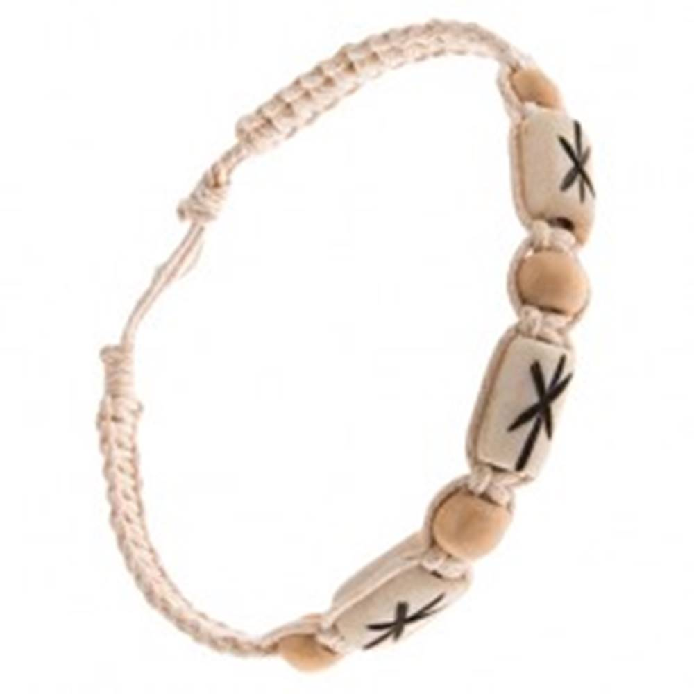 Šperky eshop Krémovobiely šnúrkový náramok, biele valčeky s čiernymi ryhami
