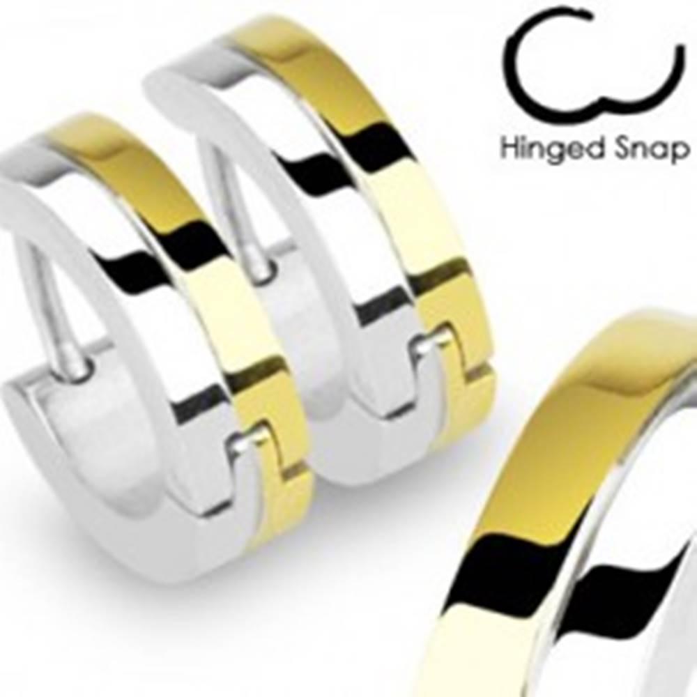Šperky eshop Kruhové náušnice z ocele, pás striebornej a zlatej farby, zárez