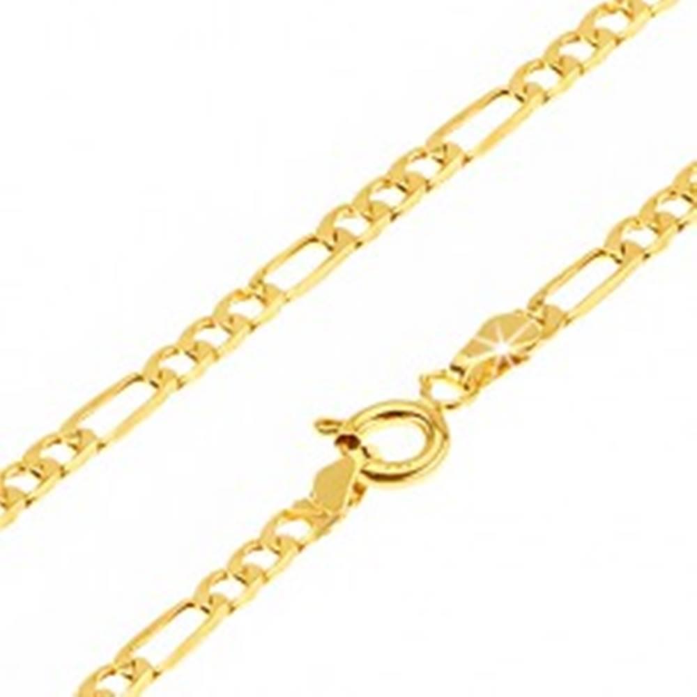 Šperky eshop Lesklá zlatá retiazka 585 - tri oválne očká a jedno podlhovasté, 550 mm
