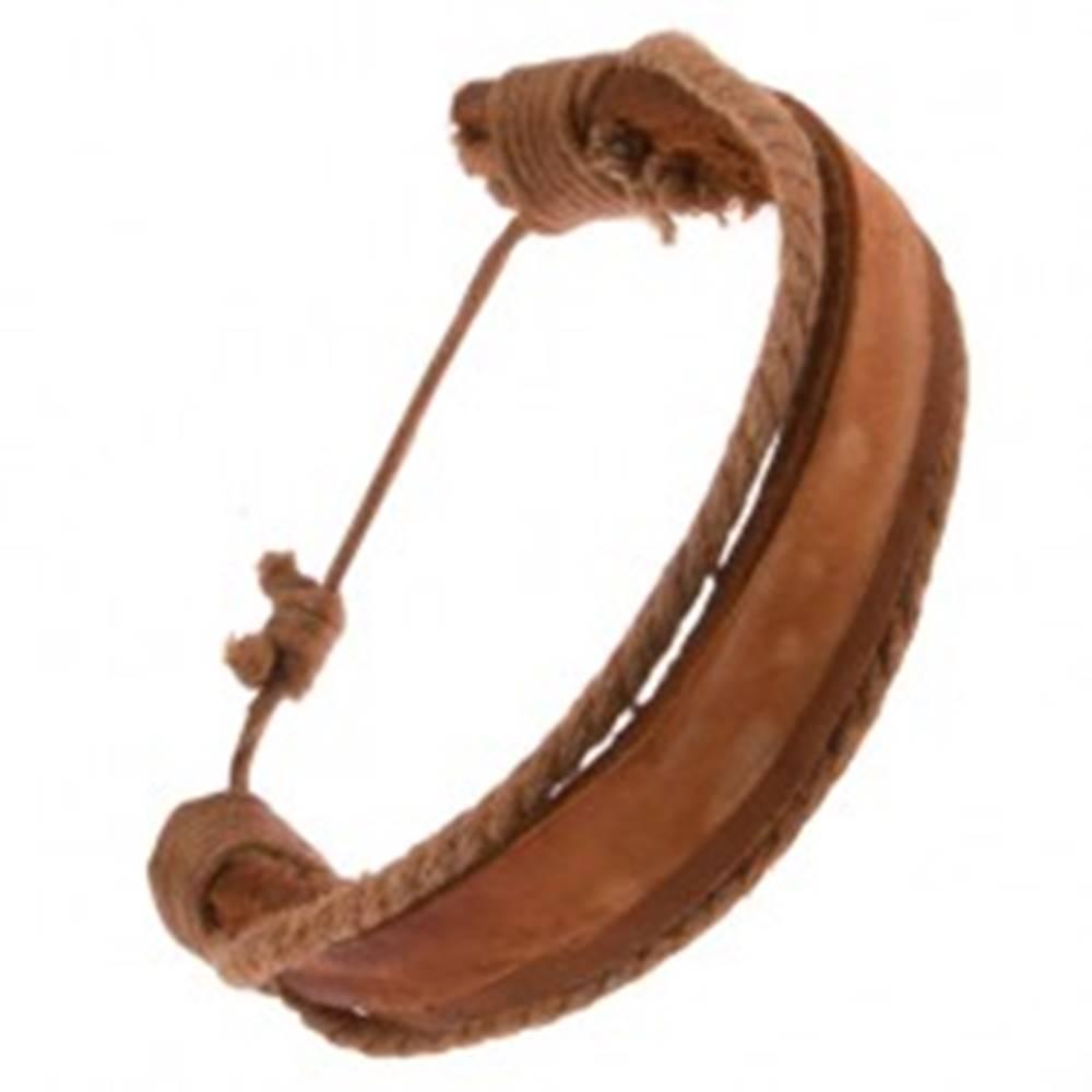 Šperky eshop Náramok z kože - hrubý a tenký karamelovohnedý pás, hnedé šnúrky