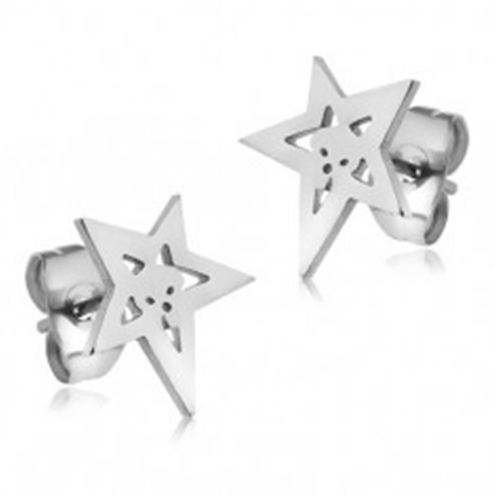 Šperky eshop Náušnice z chirurgickej ocele, kontúra hviezdy s lebkou