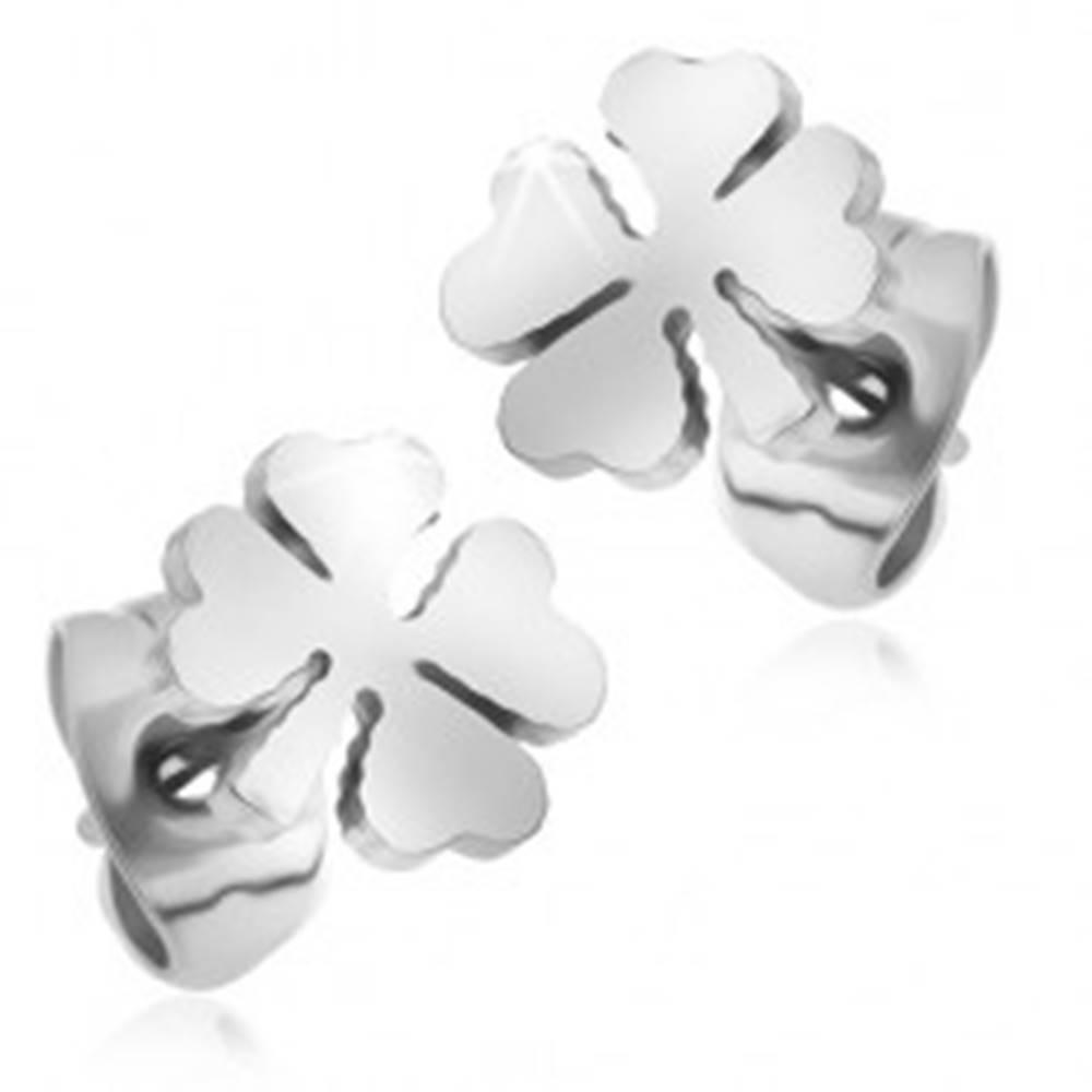 Šperky eshop Náušnice z chirurgickej ocele, štvorlístky striebornej farby