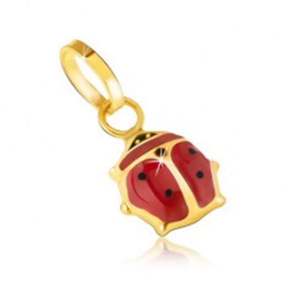 Šperky eshop Prívesok v žltom 14K zlate - trblietavá červeno-čierna lienka s glazúrou