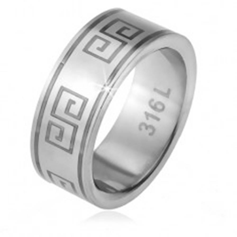Šperky eshop Prsteň z ocele 316L, matný povrch, vzor gréckeho kľúča - Veľkosť: 56 mm