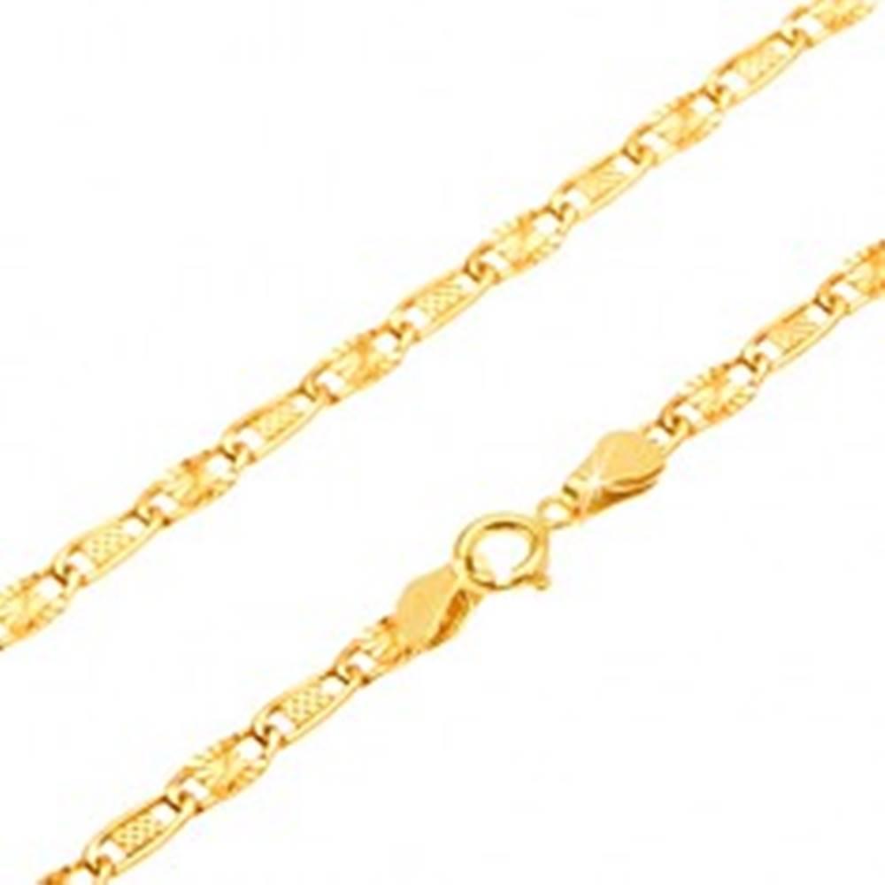 Šperky eshop Retiazka v žltom 14K zlate - mriežkovaný a lúčovitý článok, 440 mm