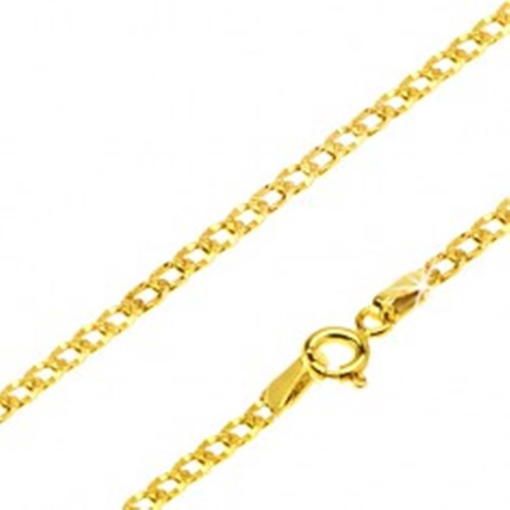 Šperky eshop Retiazka v žltom 14K zlate - ploché oválne očká, vyryté jamky, 440 mm
