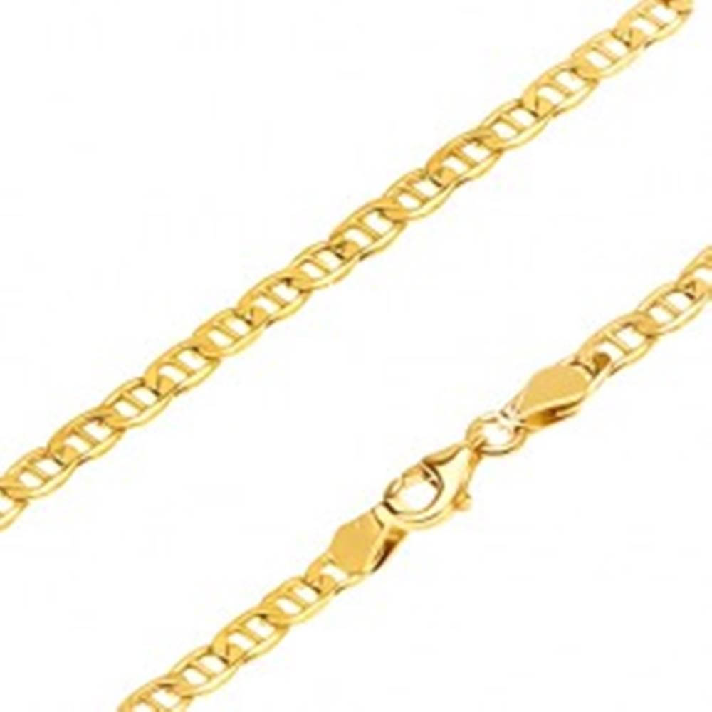 Šperky eshop Zlatá retiazka 585 - širšie oválne očká predelené tenkou paličkou, 500 mm
