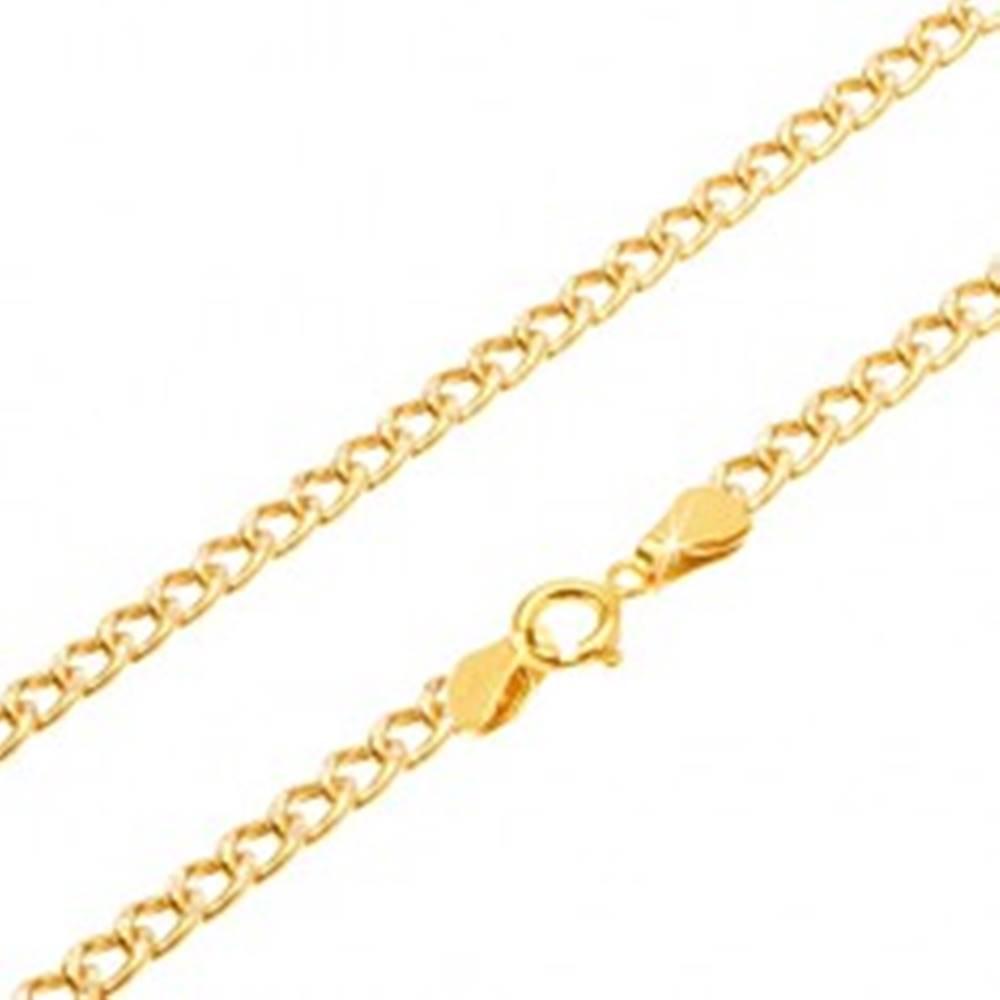 Šperky eshop Zlatá retiazka 585 - zarovnané oválne hrubšie očká, ryhovanie, 500 mm