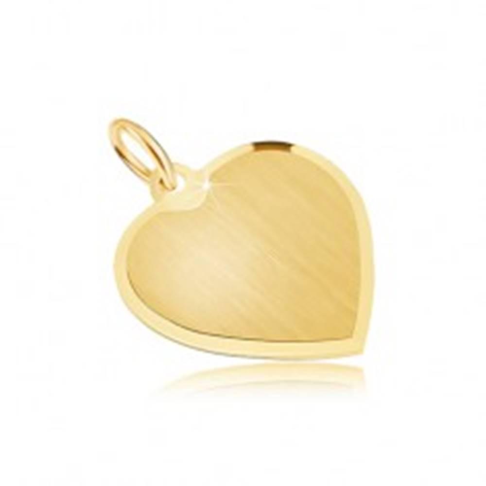 Šperky eshop Zlatý prívesok 585 - pravidelné srdce so saténovým povrchom, skosená obruba
