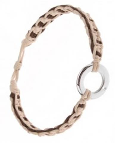 Pletený náramok z béžových a čokoládových šnúrok, kovový kruh