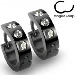 Čierne náušnice z ocele - krúžky, tri okrúhle číre kamienky