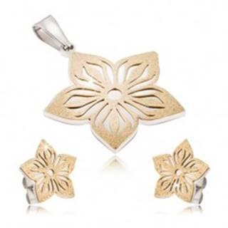 Dvojfarebná oceľová sada - náušnice a prívesok, vyrezávaný pieskovaný kvet