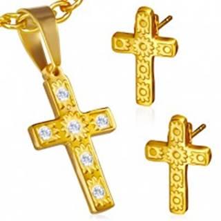 Oceľová sada zlatej farby - prívesok a náušnice, kríž, číre kamienky