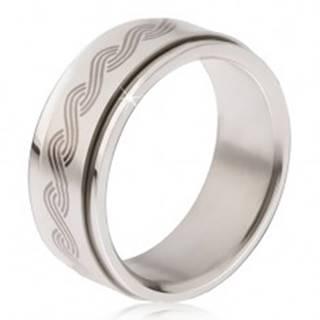 Oceľový prsteň - točiaca sa matná obruč, potlač gréckeho pletenca - Veľkosť: 57 mm