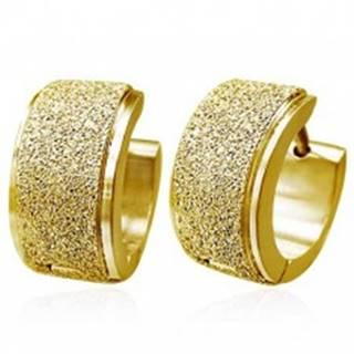 Okrúhle náušnice z ocele - široký pieskovaný pás, zlatá farba