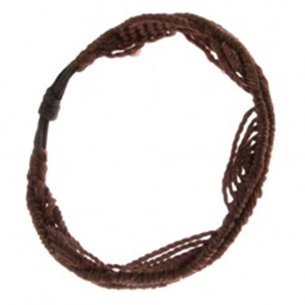 Šperky eshop Čokoládovohnedý náramok z motúzikov, motív vĺn