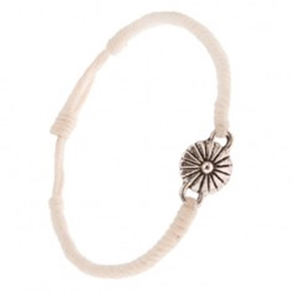 Šperky eshop Náramok z béžových šnúrok, husto spletený, margarétka