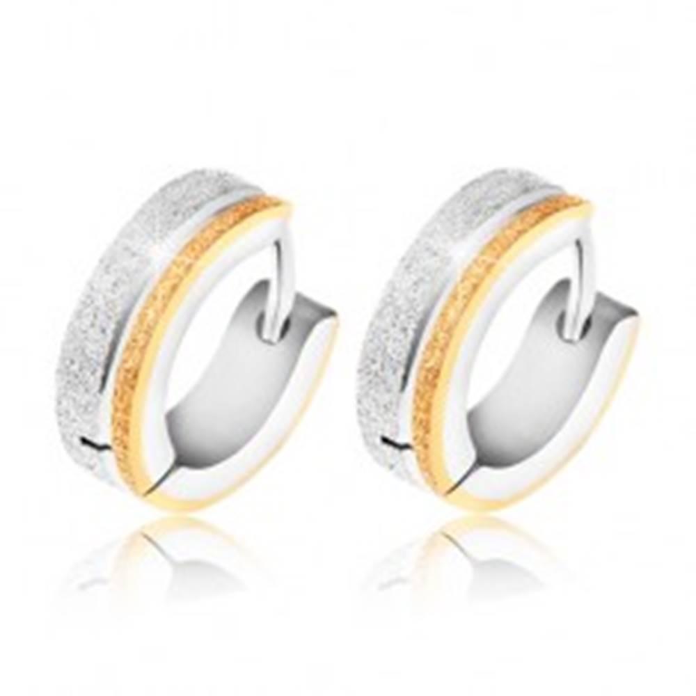 Šperky eshop Náušnice z chirurgickej ocele - pieskovaný pás zlatej a striebornej farby