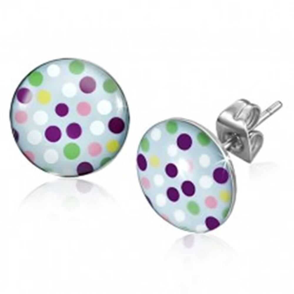 Šperky eshop Náušnice z chirurgickej ocele, rôznofarebné bodky