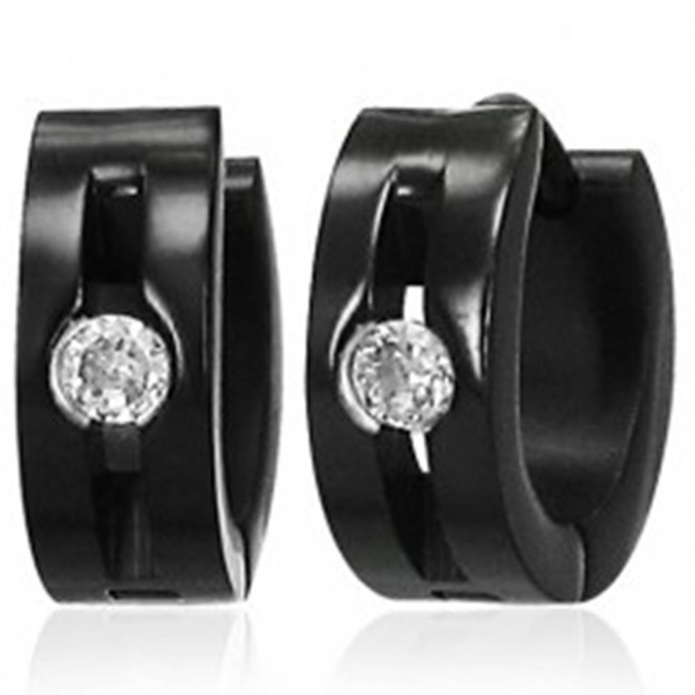 Šperky eshop Oceľové náušnice - lesklé čierne krúžky, ryha, číry kamienok