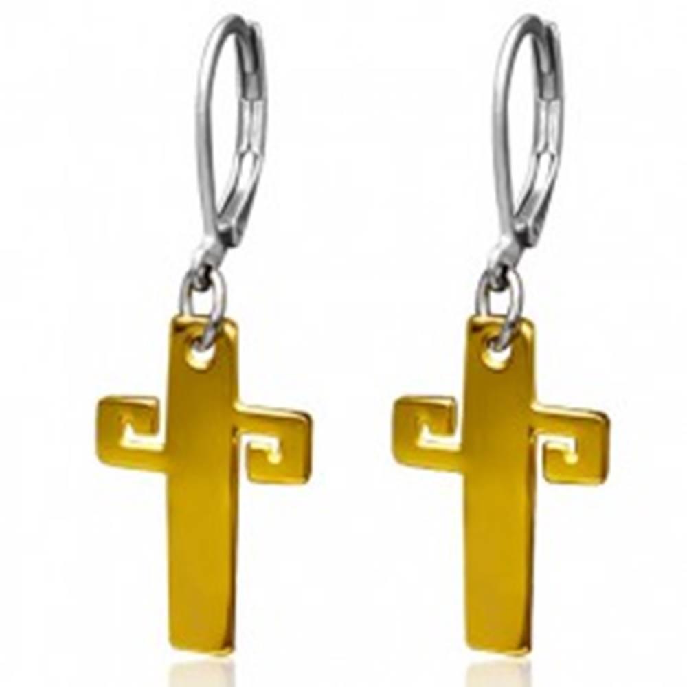 Šperky eshop Oceľové náušnice zlatej farby, kríž s gréckym kľúčom