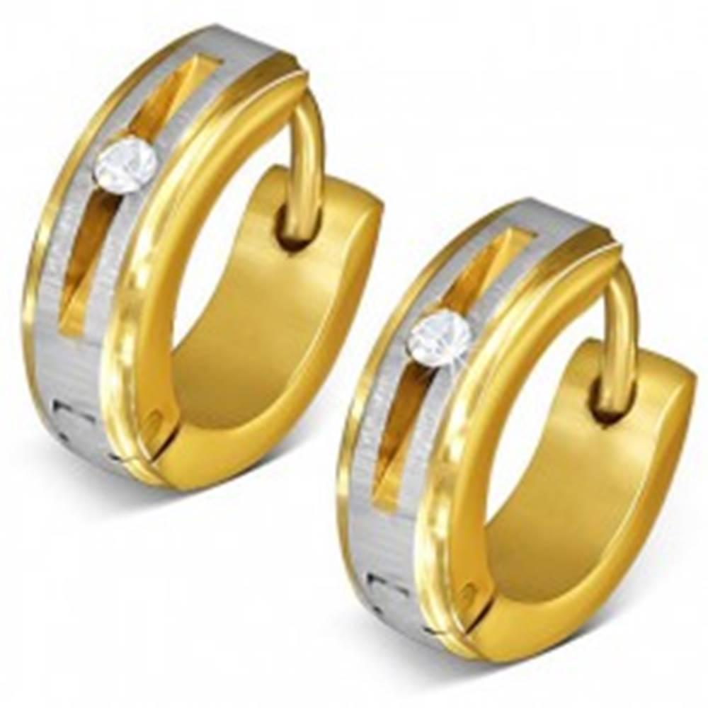 Šperky eshop Oceľové náušnice zlatej farby - kruhy, saténový pás, okrúhly číry zirkón