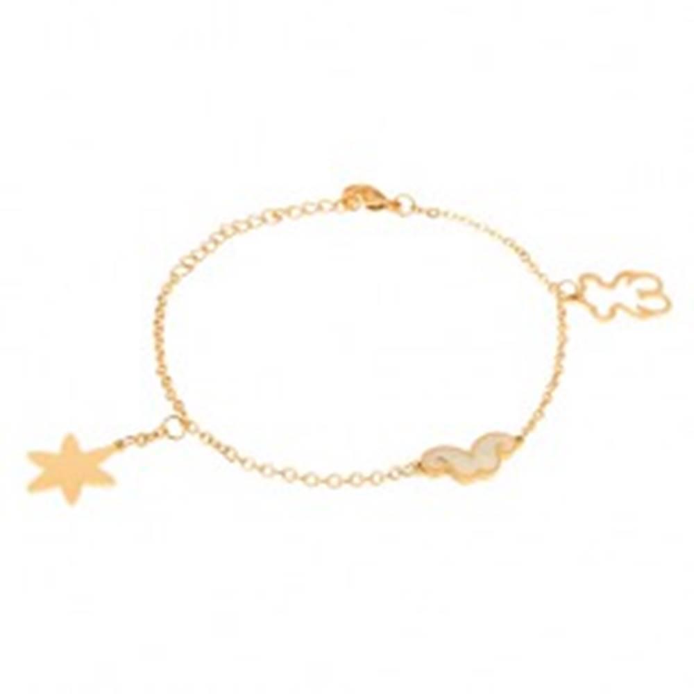 Šperky eshop Oceľový náramok zlatej farby, kontúra medvedíka, hviezda, fúziky