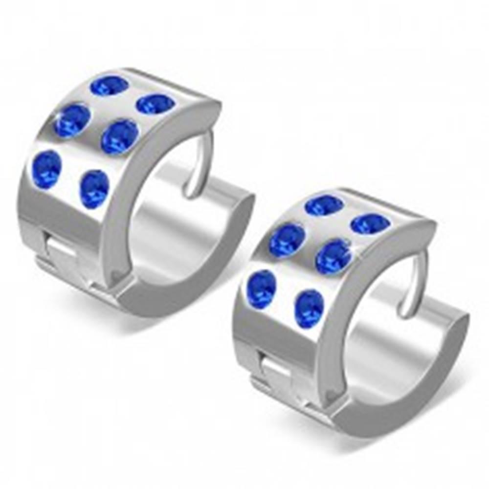 Šperky eshop Okrúhle náušnice z chirugickej ocele - lesklé striebornej farby, modré zirkóny